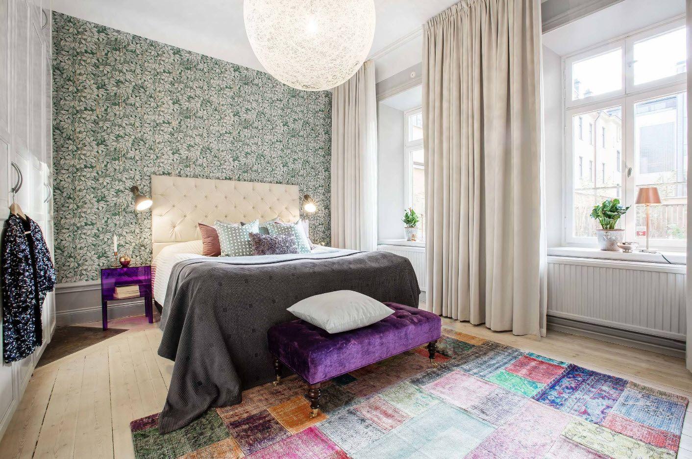 Modern Bedroom Interior Decoration & Design Ideas 2017. Velvet ottoman and the textured wallpaper