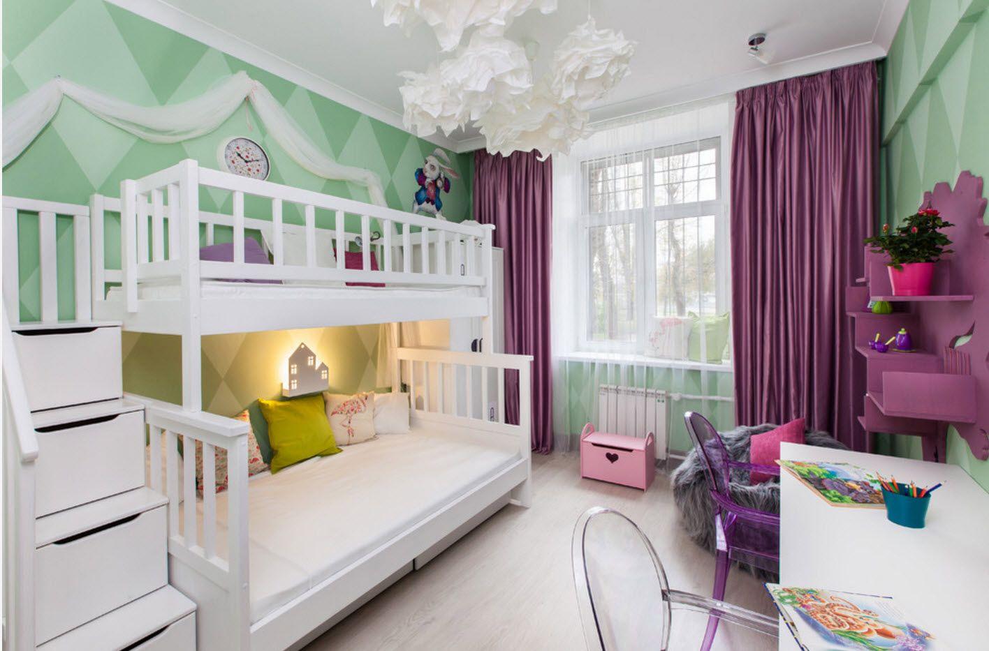 Bright accent of purple drapes