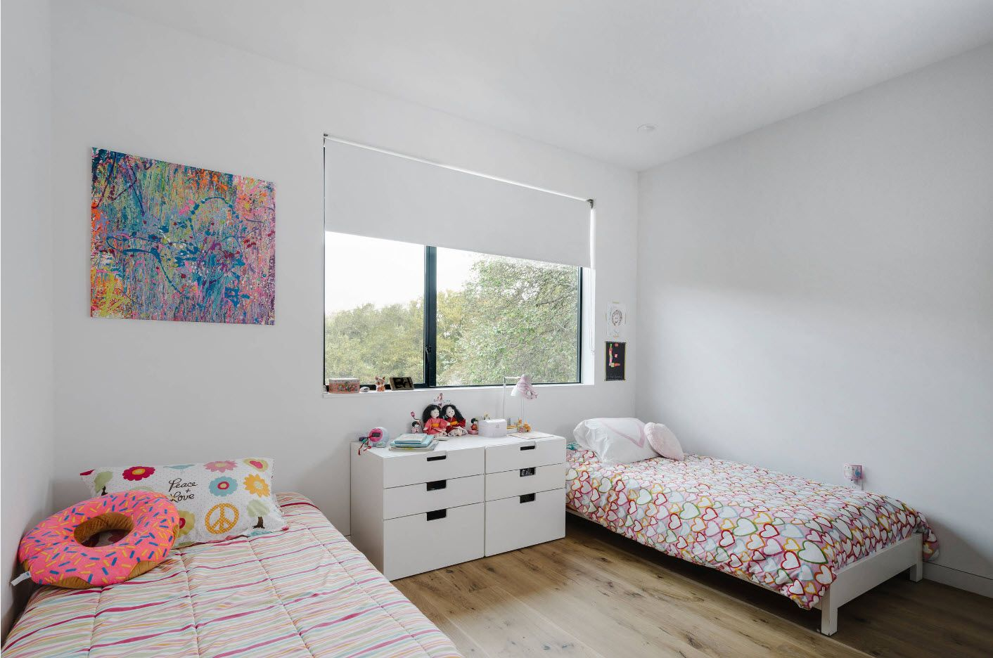 Absolutely white Scandinavian interior in the room for boys