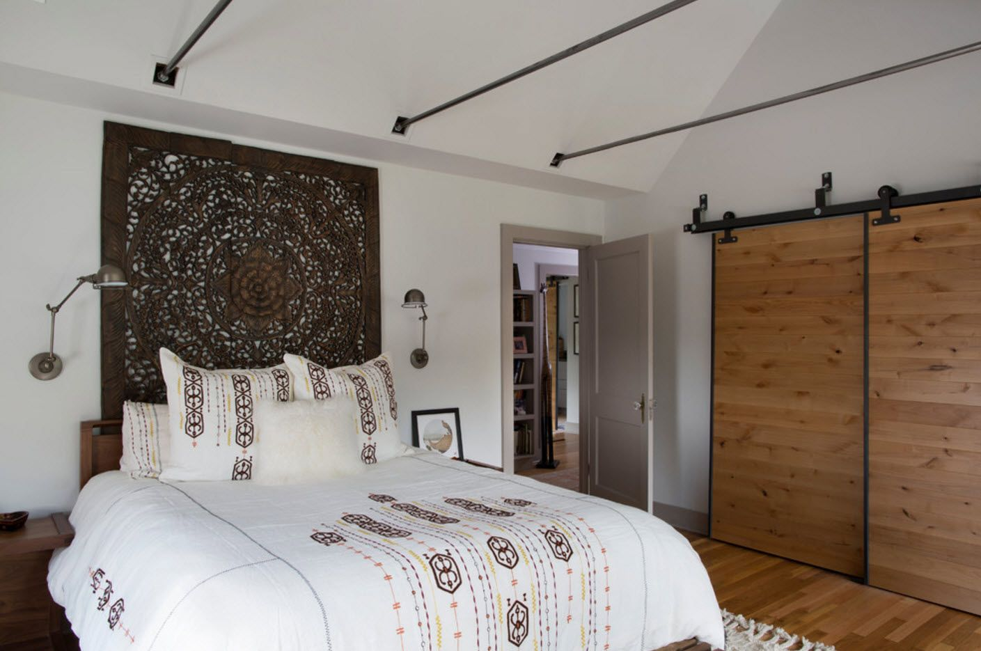 Classic ascetic bedroom with sliding doors