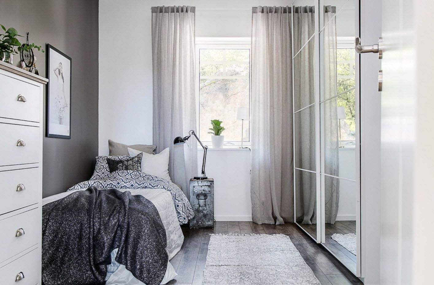 Gray tints color palette for contemporary bedroom