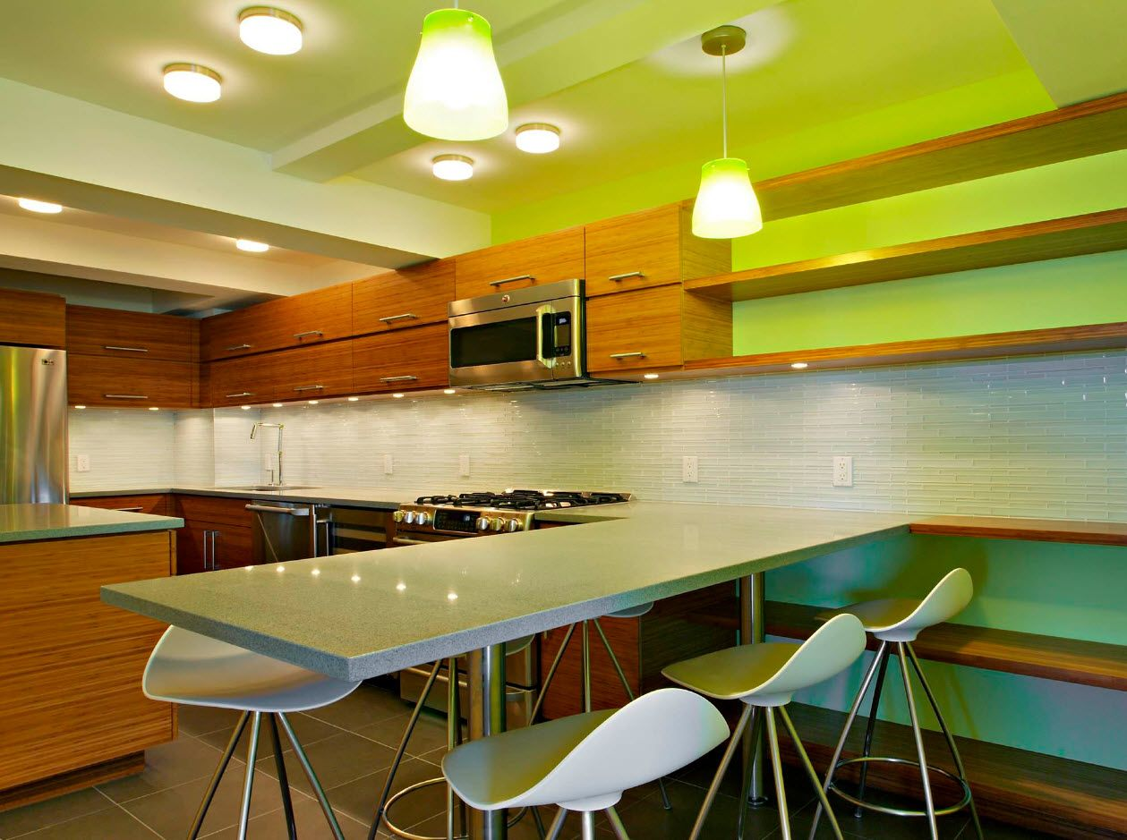 Nice pale green color combination for modern large kitchen