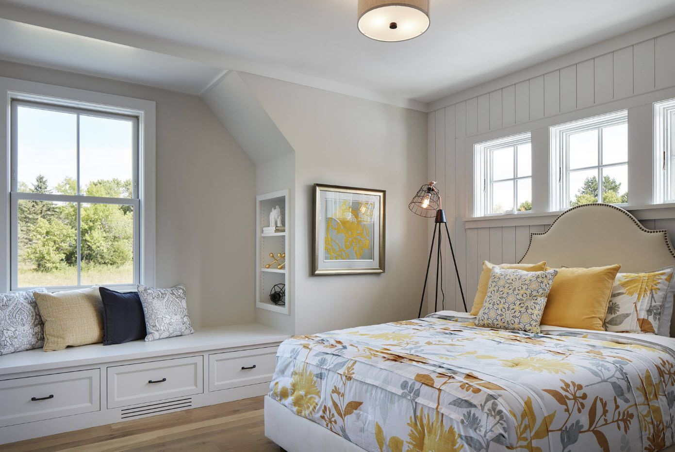 Typical classic bedroom interior with sleepe at the windowsill