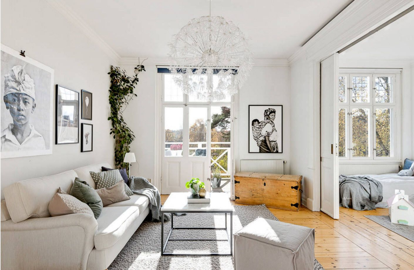 Classic white interior of the modern sitting room in the private house