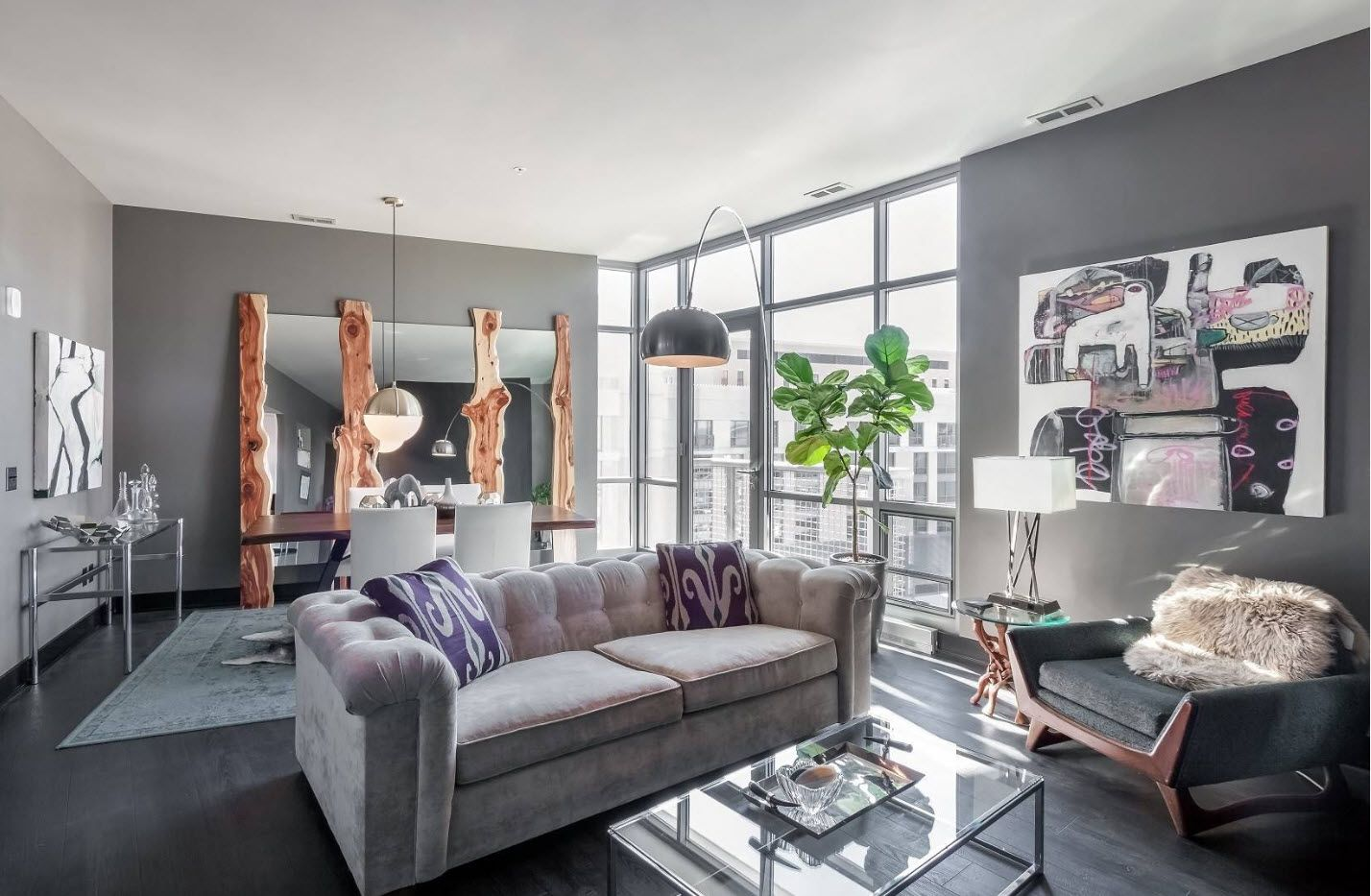 Gray interior decoration and the large window of the one bedroom apartment