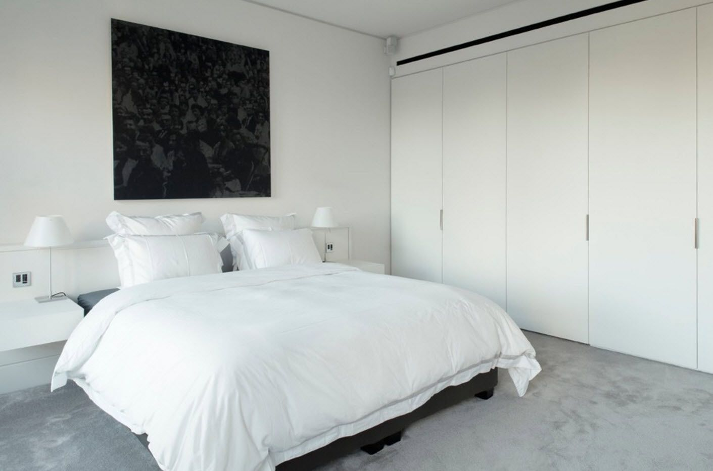 Apartment Interior Design Inspiration Ideas & Trends 2017. Totally white interior with black inlays for modern bedroom