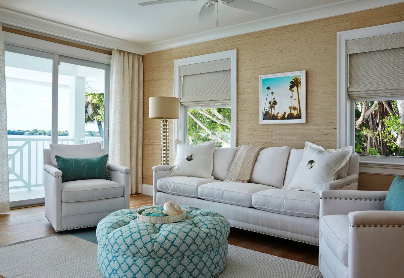 White Classic interior if the sitting room with beige walls