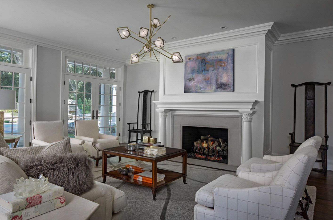 Classic interior in the modern house with fireplace