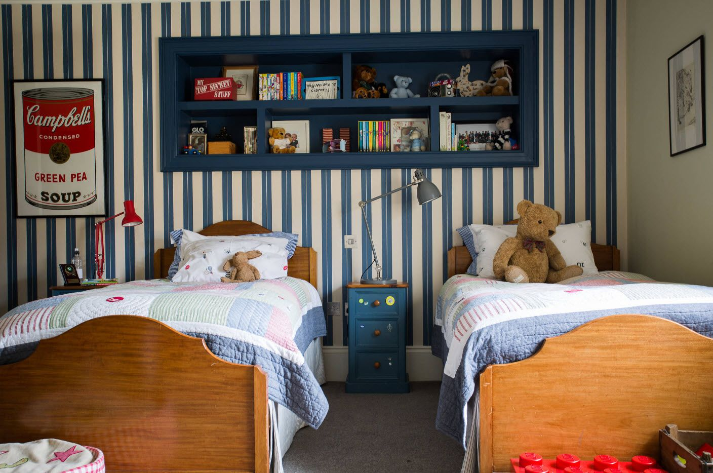 Striped children's room design for boys