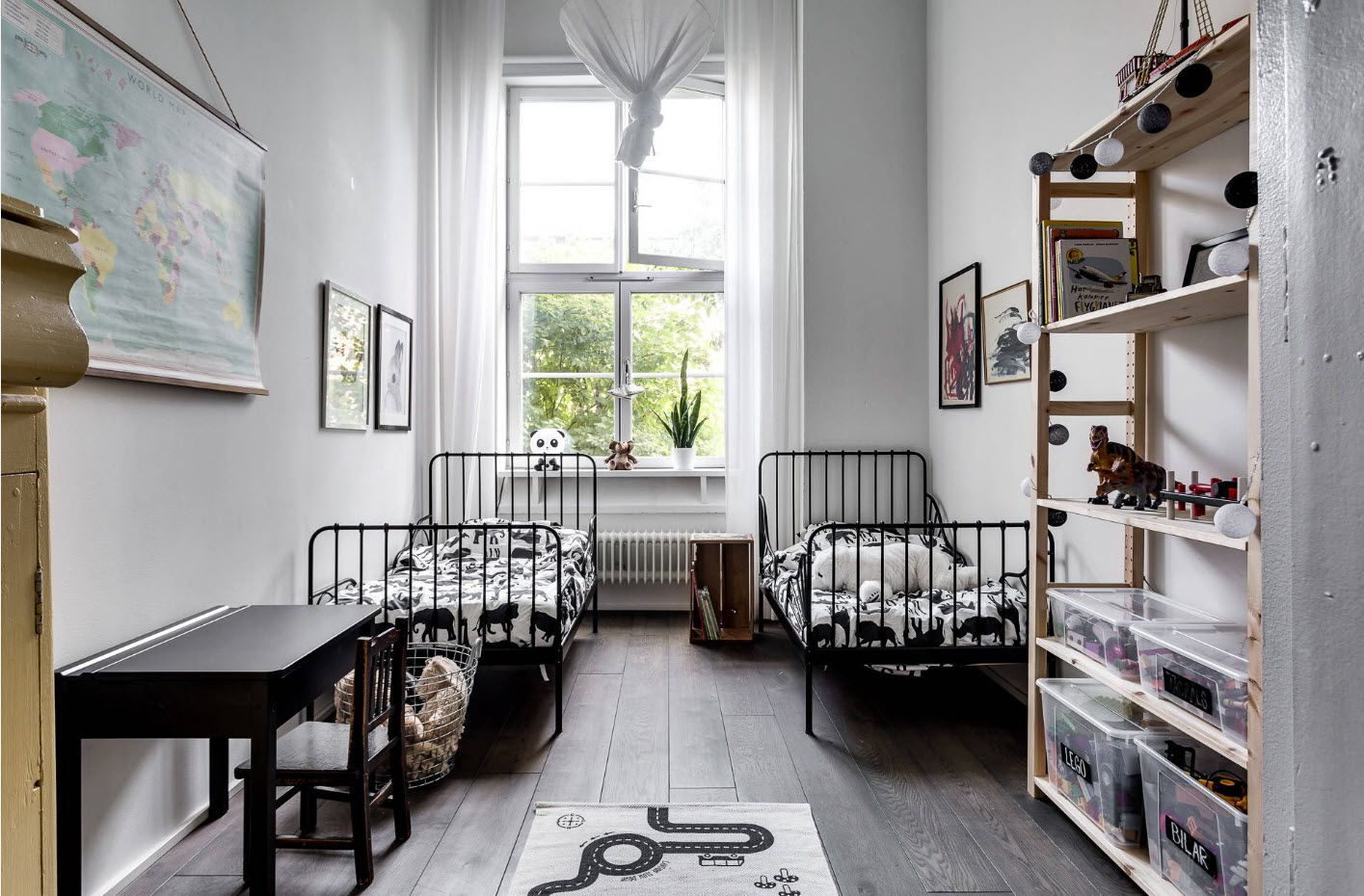 High white Scamdinavian style decorated room for boys