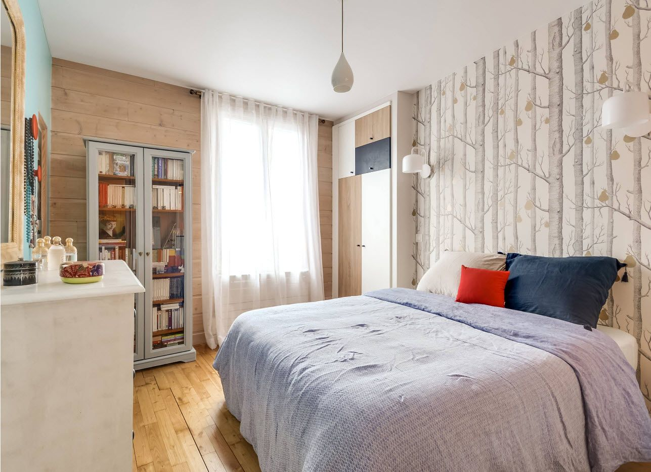 White bedroom with photowallpaper instead of headboard decoration