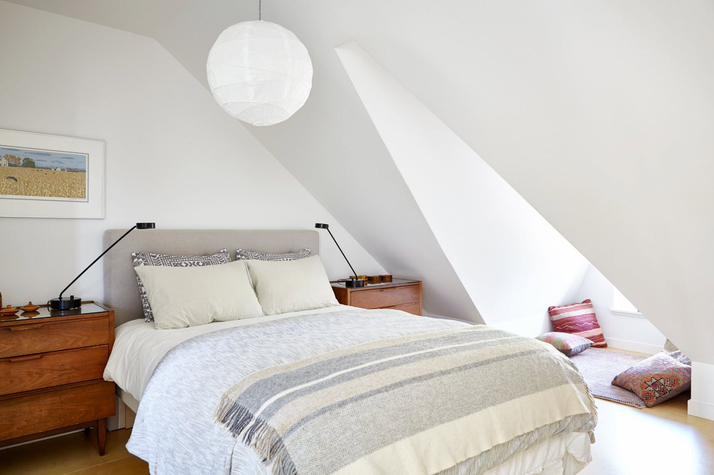 Light Scandinavian loft bedroom