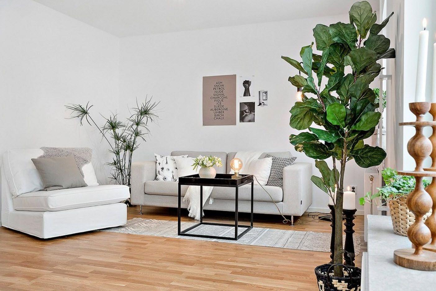 Greenery in the modern Scandinavian style room in gray