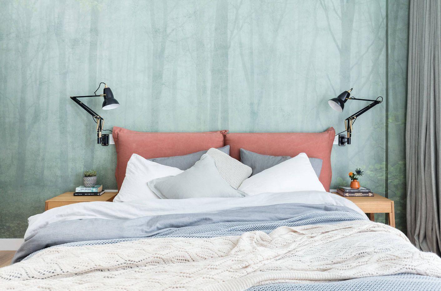 Modern Bedroom Interior Decoration & Design Ideas 2017. Built-in hi-tech lamps at the headboard