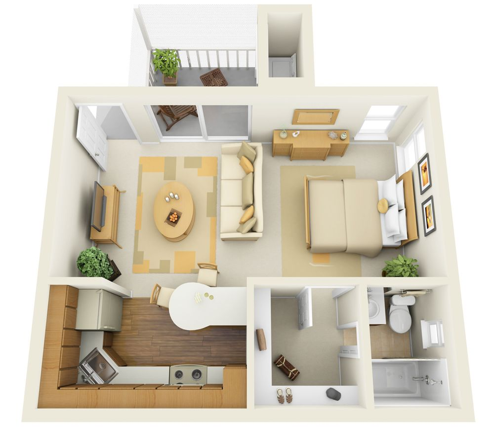 Casual studio apartment layout with all necessary zone and a balcony