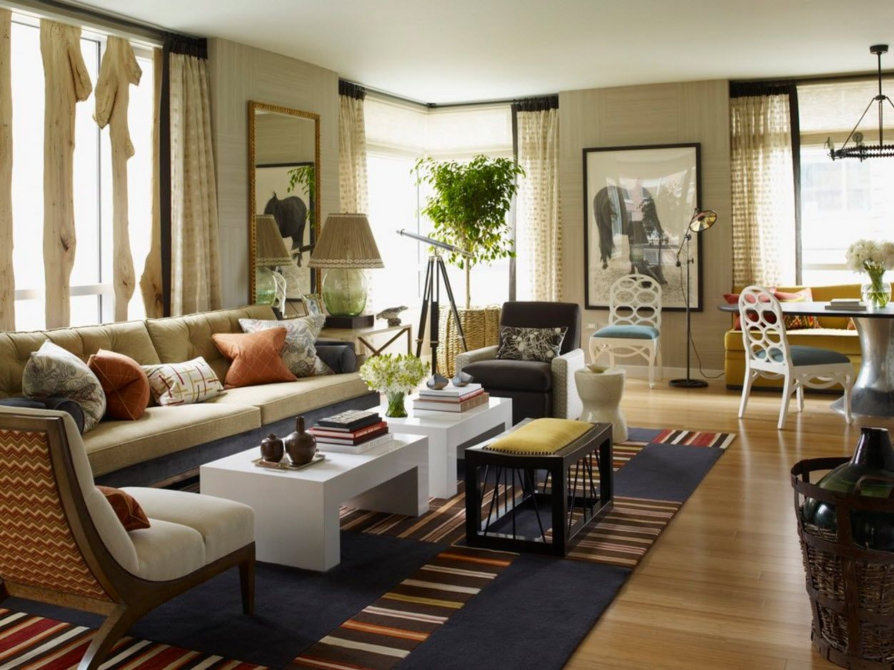 Modern wooden theme for spacious living room