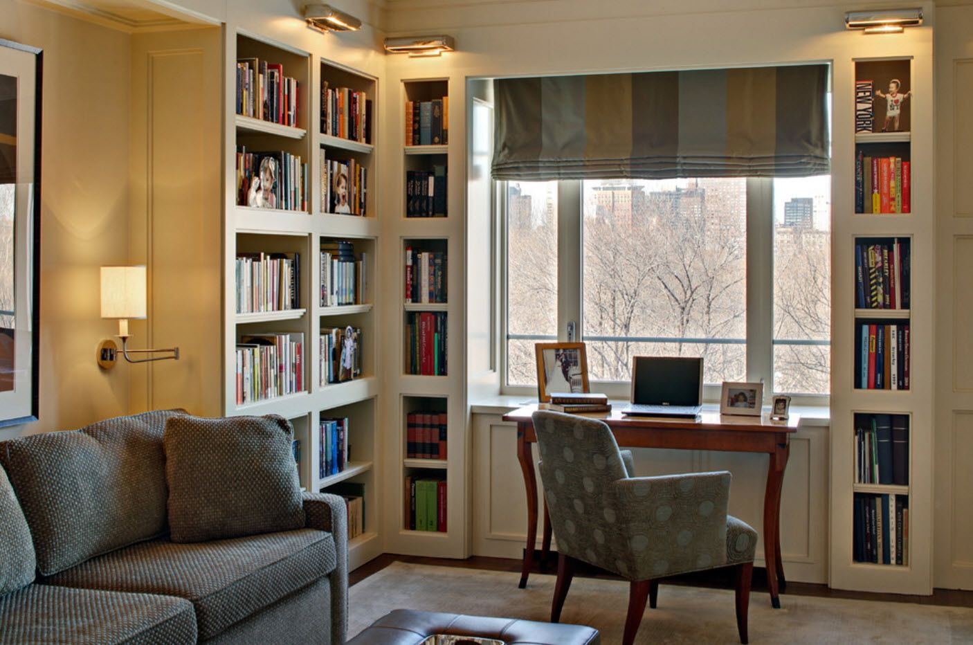 Book cabinets at the classic decorated home office