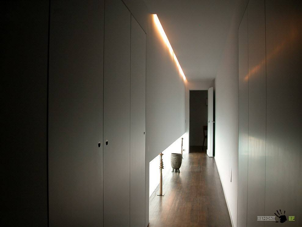 Modern Spacious Terrace Paris Apartment Design Project. Narrow corridor to the bedroom