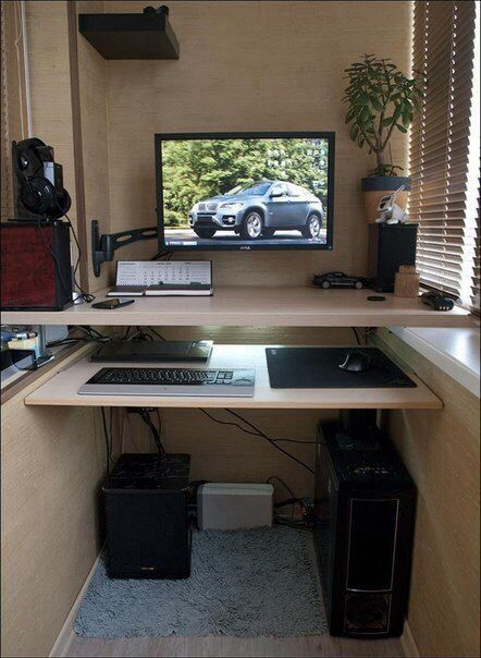 Modern working space with desktop and separate level for keyboard and mouse
