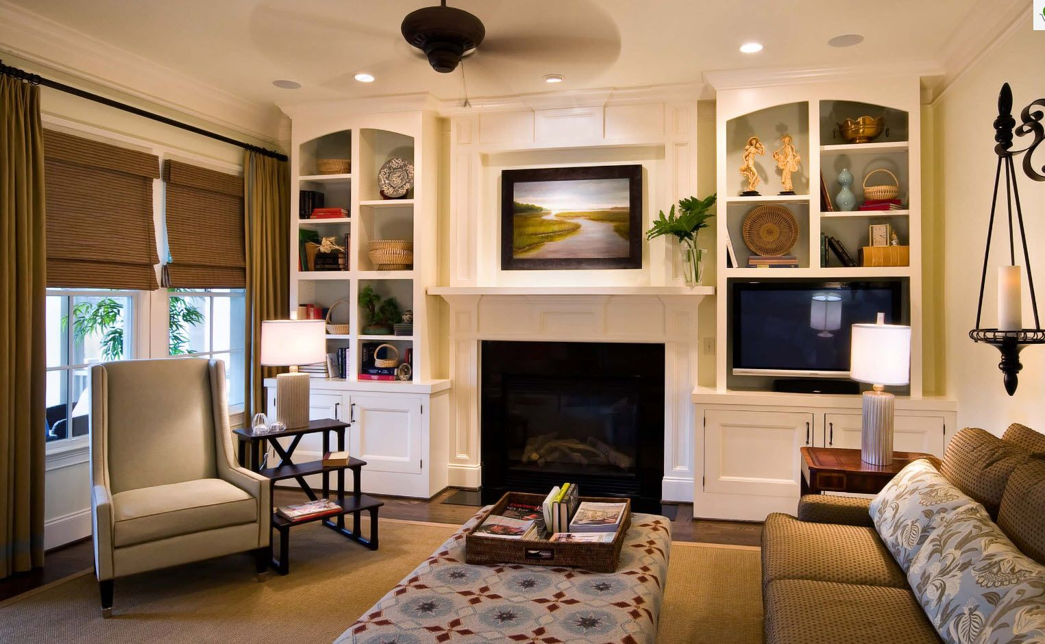 Fireplace and picture at the mantelshelf in white creamy color theme