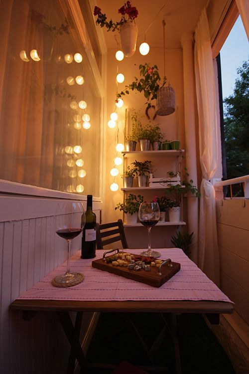 Nice calming evening atmosphere at the modern decorated balcony