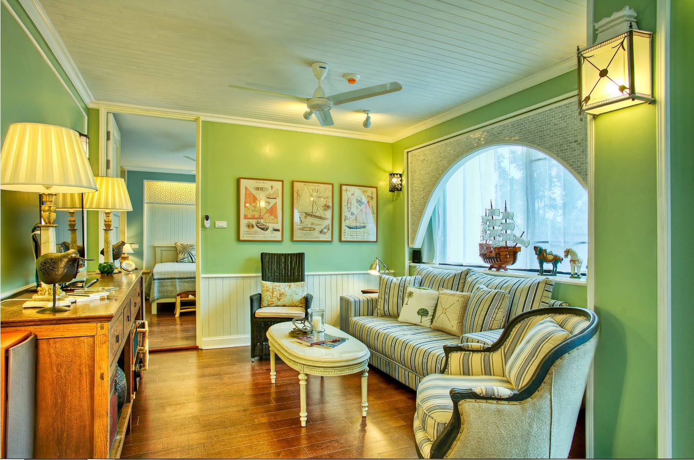 Lusious olive color theme for living room