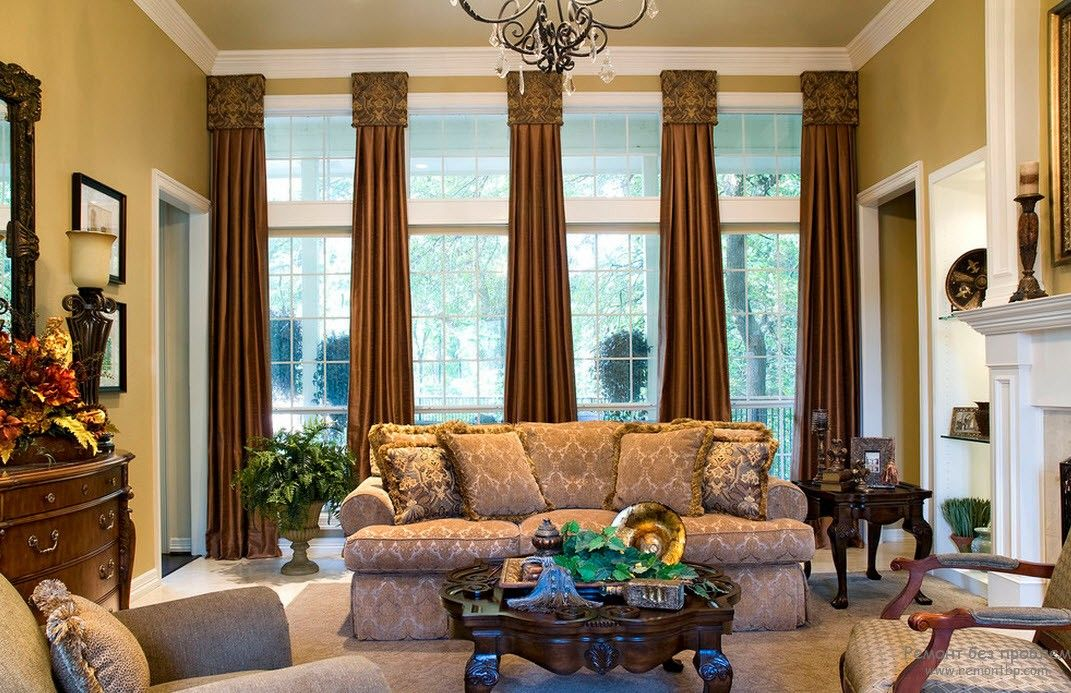 Victorian Interior Design Style. Description, History, Examples and Photos: Heavy long drapes on the panoramic planked windows look airy