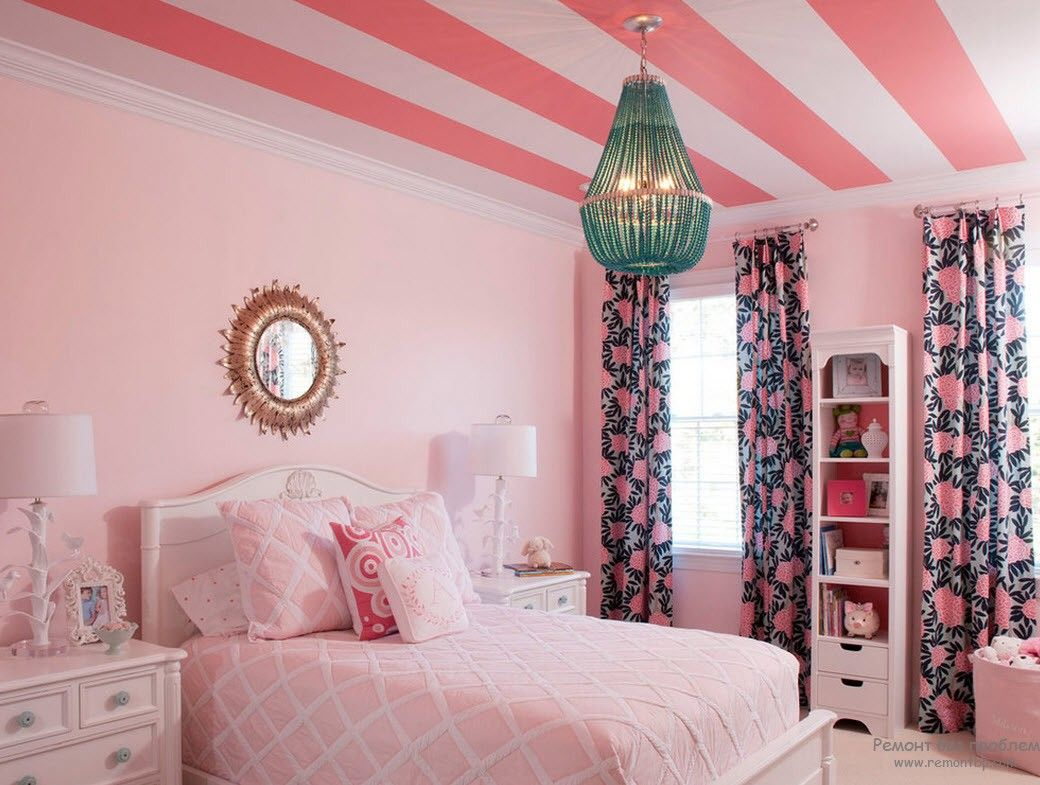 Pink girl room with striped ceiling
