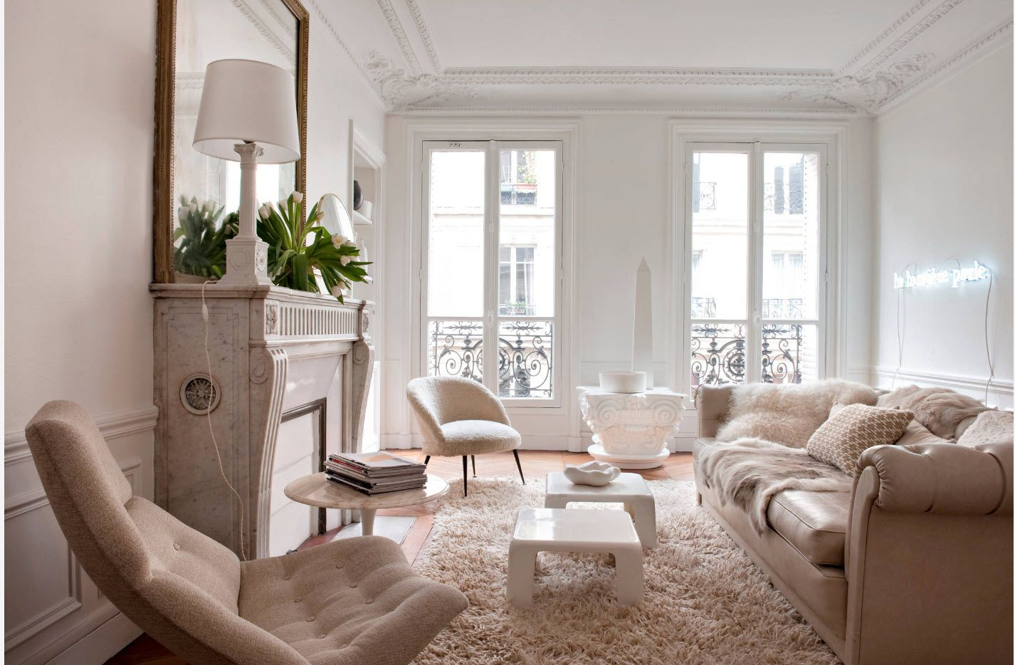Nice classic design of the apartment with bright interior and French blacony