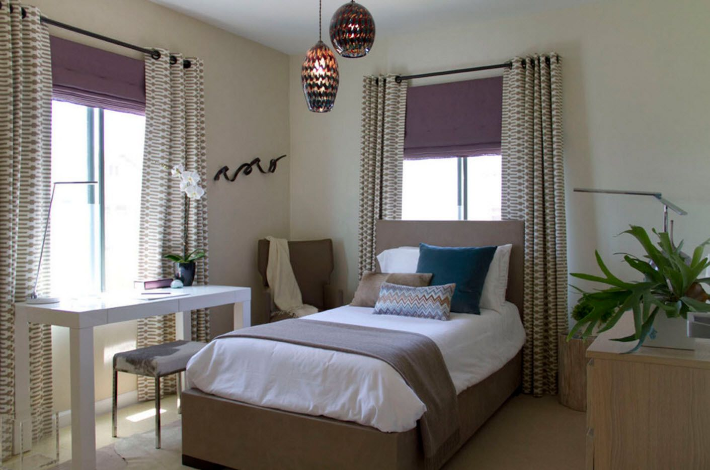 Purple roller blinds for modern bedroom