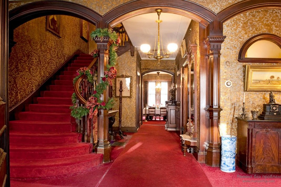 Victorian Interior Design Style. Description, History, Examples and Photos: Nice red carpeting is the intrinsic feature of the style