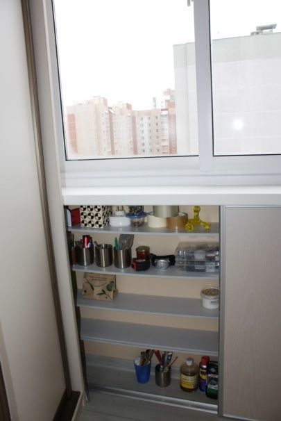 Nice idea for storage space at the balcony of modern block of flats