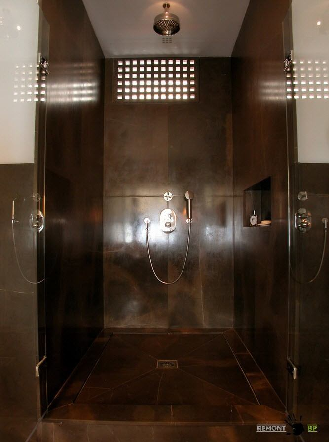 Modern Spacious Terrace Paris Apartment Design Project. Shower with dark marble trimming