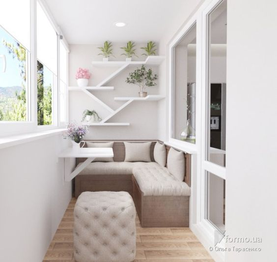 White pastel theme for Scandinavian designed balcony