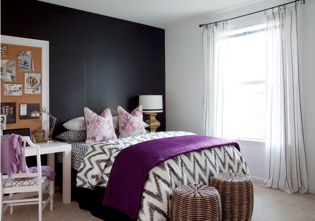 Totally black frosted accent wall in the peculiarly designed small bedroom with mix of styles and ideas looks juicy and accentual