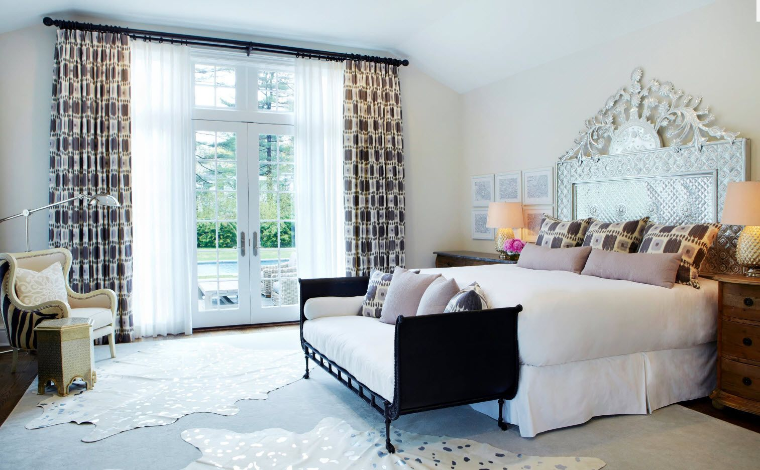 Dotted draperies for Southern European styled bedroom