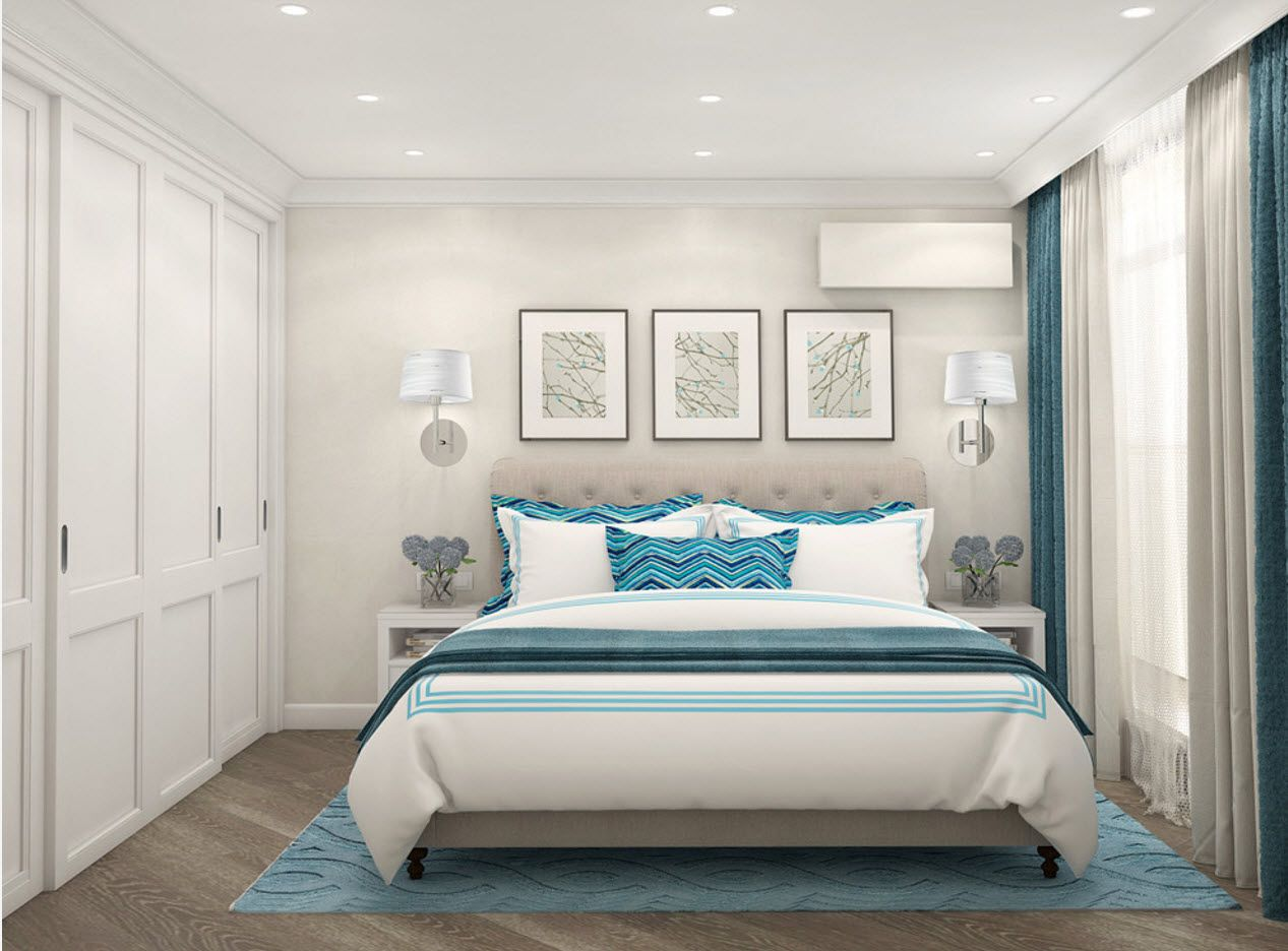 Pastel colors theme for modern setted bedroom