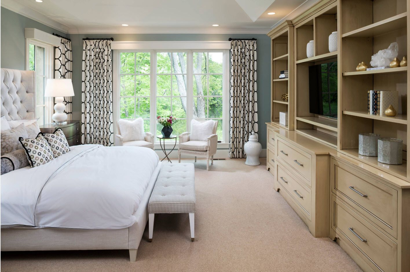Wooden furniture set for the spacious hi-tech and English country mix bedroom with screen lattice windows and dotted accent draperies