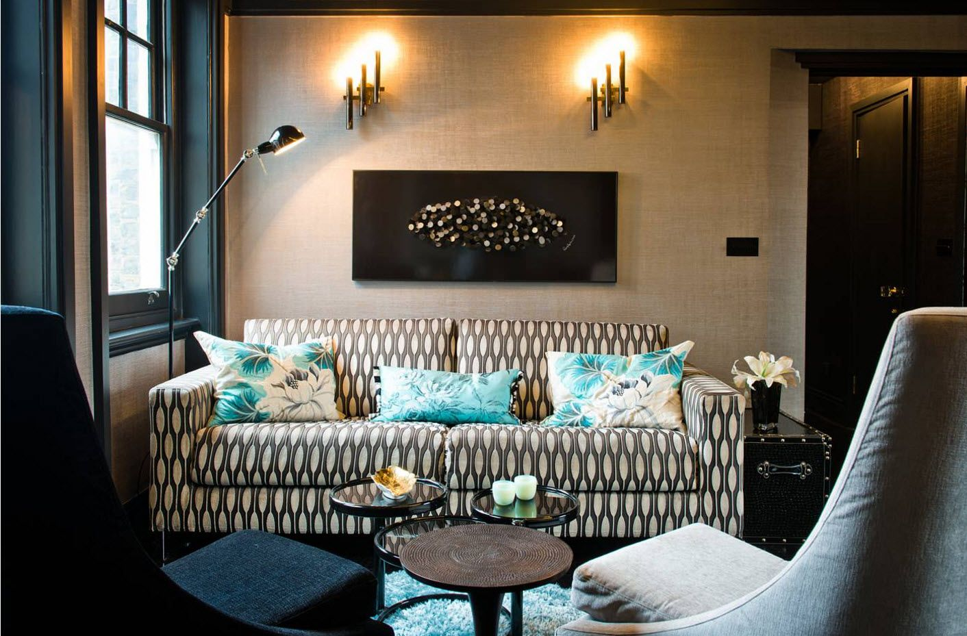 Dotted brown sofa for Modern cozy living room