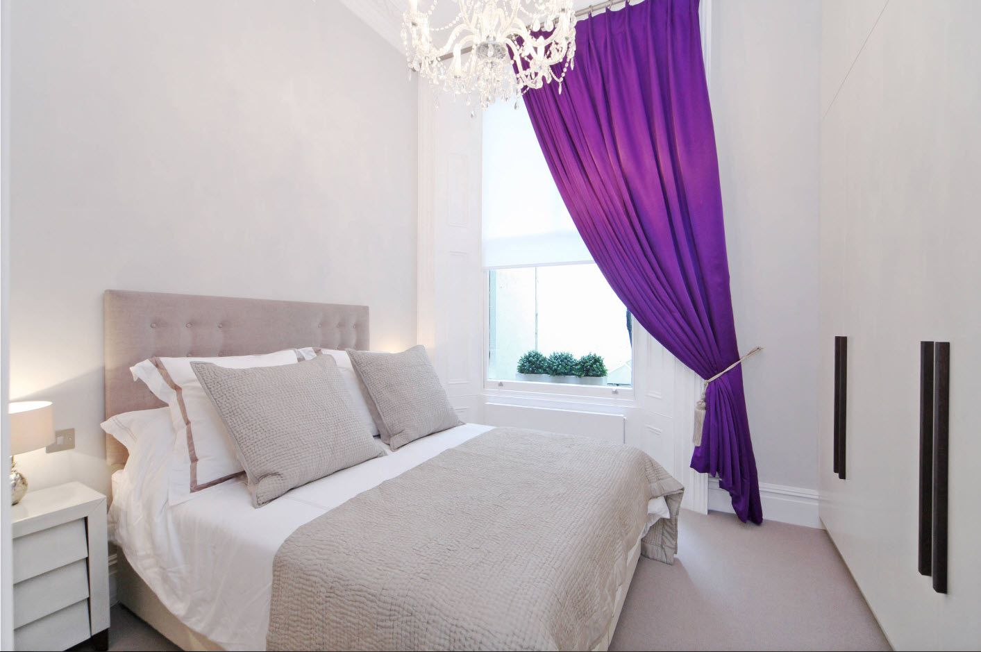 Purple half priscilla draperies in the ideally white bedroom with touch of gray