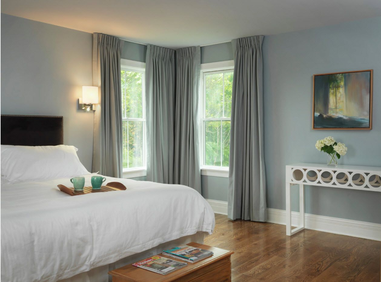 Pale turquoise olve hue of the modern color combination for the cozy minimalsitic bedroom