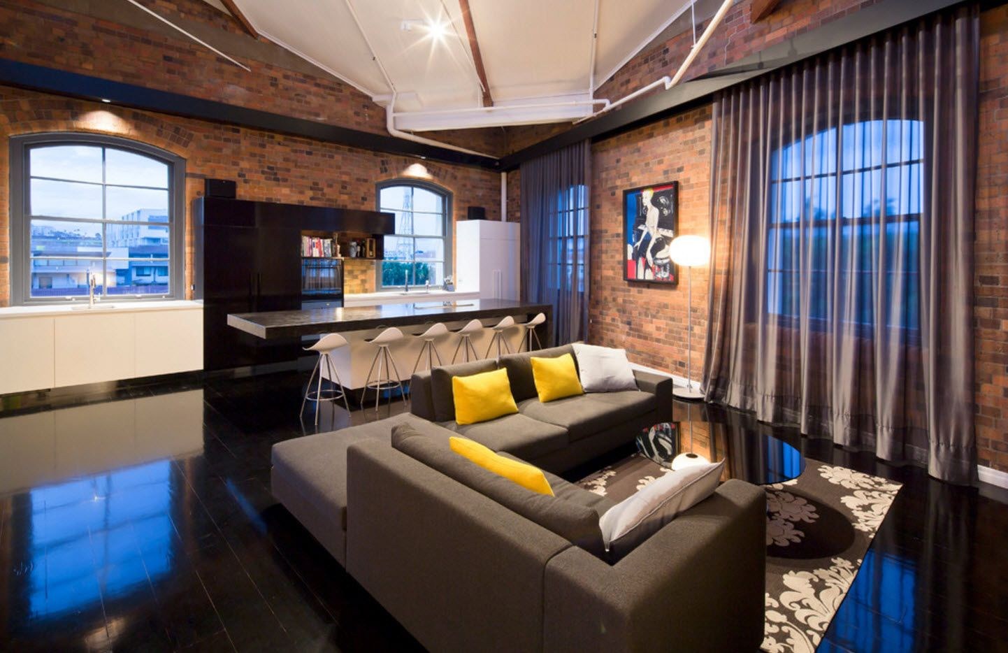 Brickwork, loft and fusion mix of styles in the modern interior