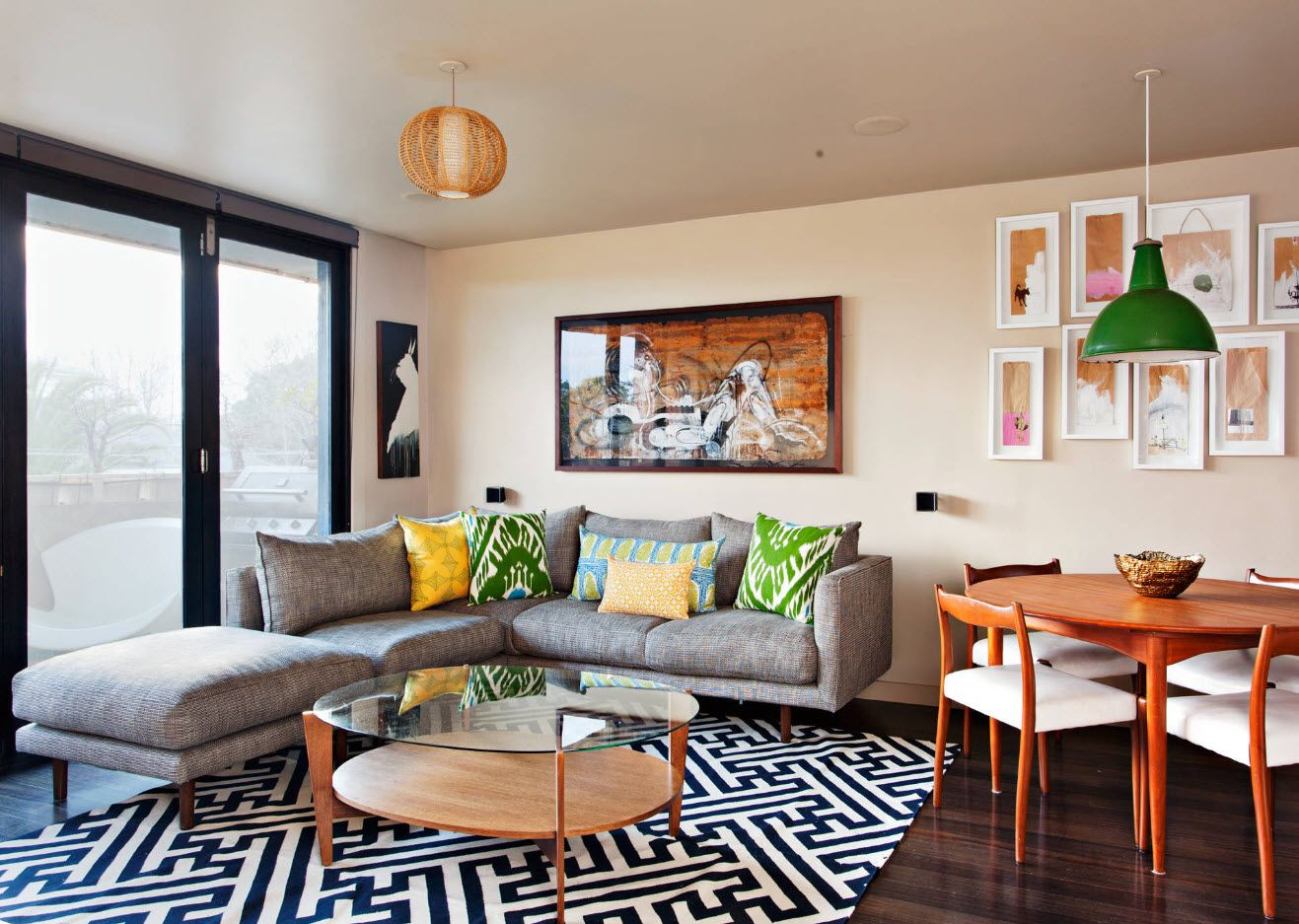 Modern widespread interior design and layout of the living room