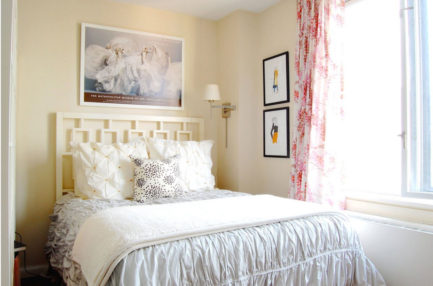 Pictures, crimson dotted tulle curtains for maximum comfort in the bedroom