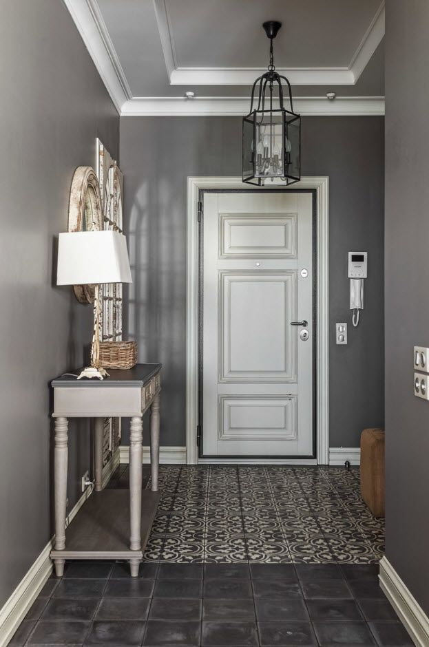 Classic dark gray atmosphere in the vintage style of the entrance hall