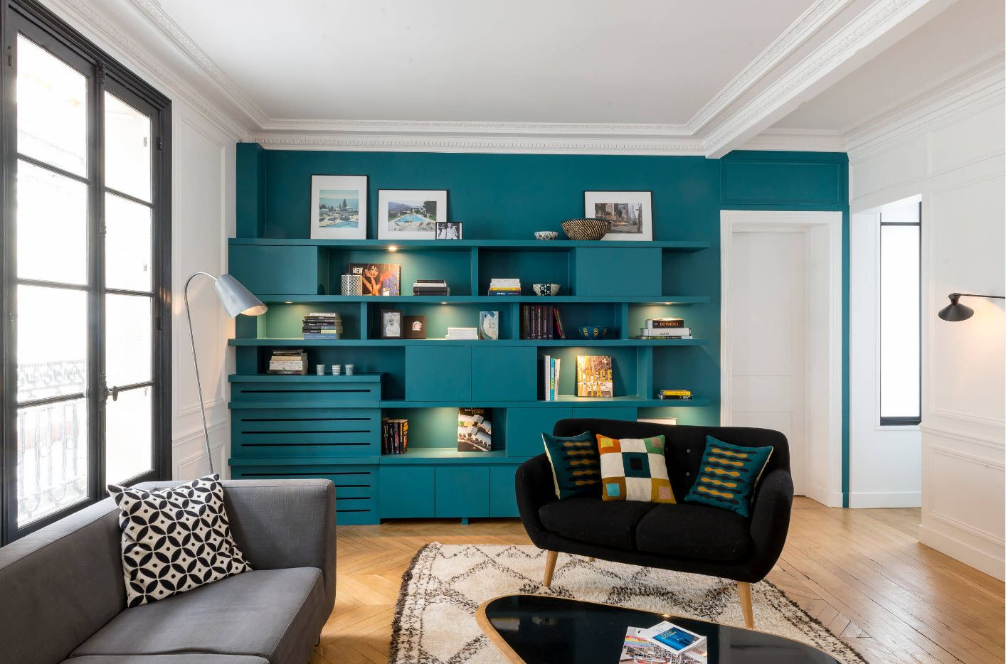 Turquoise furniture set with storage for modern interior