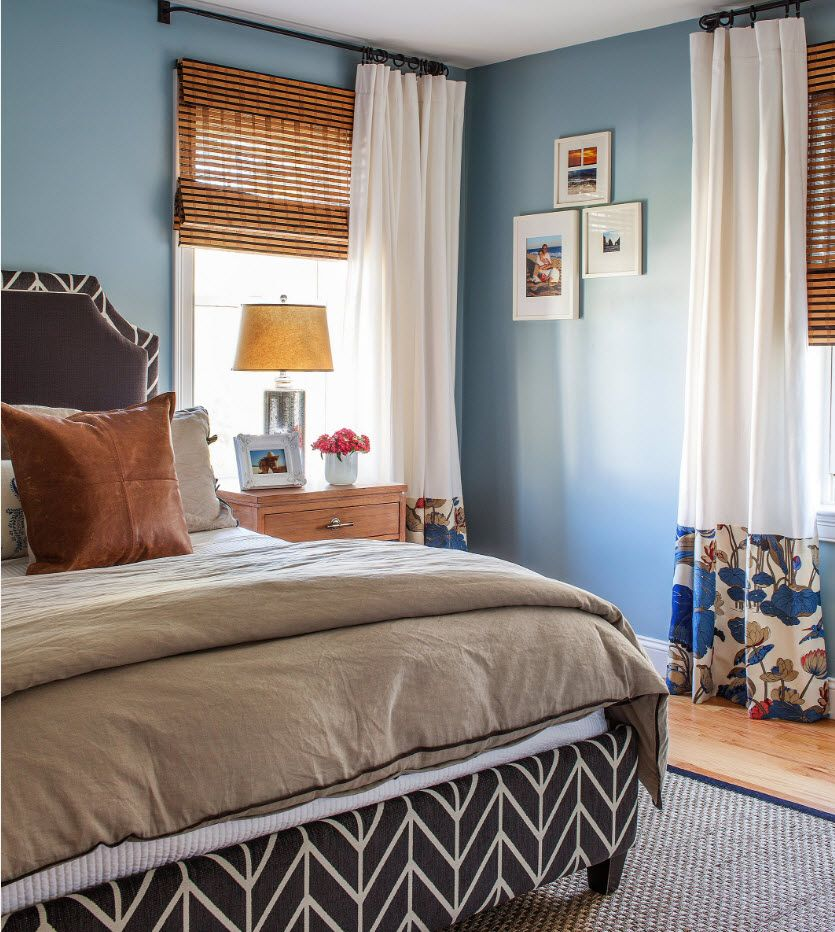 Blue set of the modern comfortable classic designed bedroom