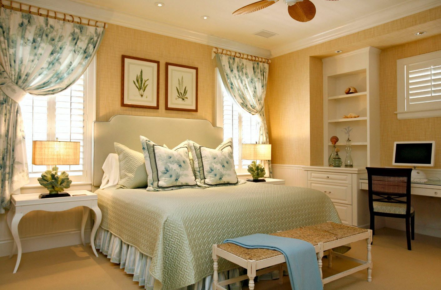 A little girlish bedroomwith peach and turquoise color touches and ruches; white storage shelves