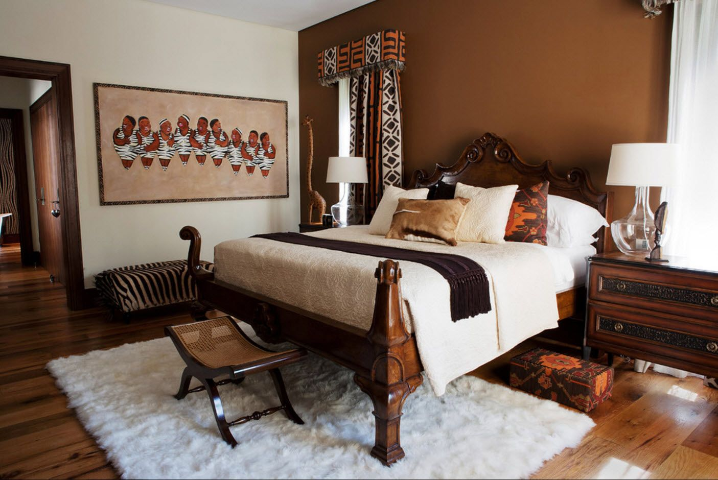 Bedroom Drapes 2017. Design, Forms, Real Examples with Photos. Royal African style with folding small ebony ottoman