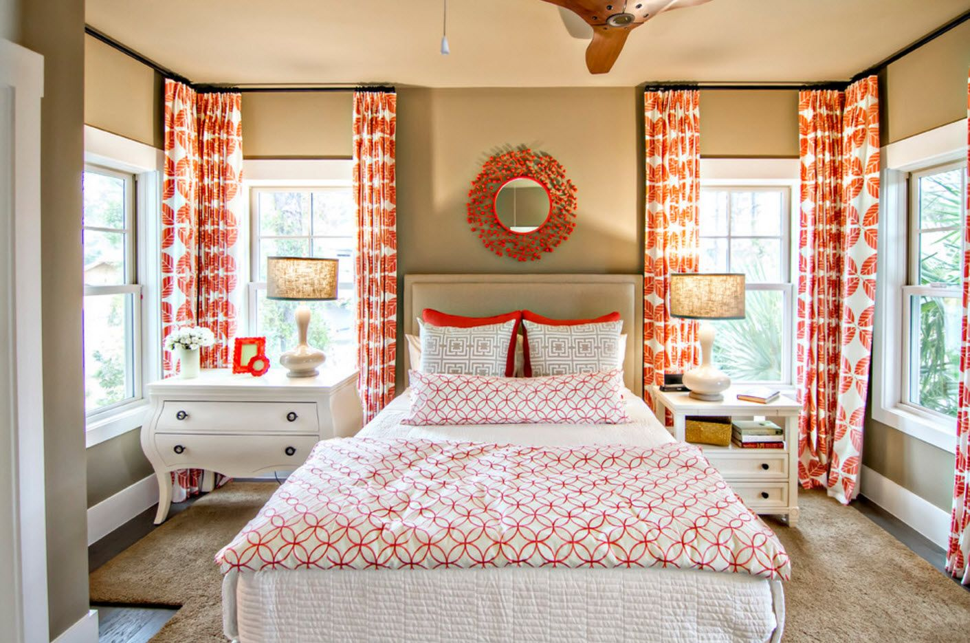 Red notes in the mirror and drapes of the modern bedroom